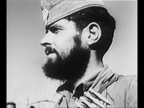 pan members of un investigating committee which visited guerrilla headquarters in greece in 1947 / 1944 montage individual bearded partisans at... - greek flag stock videos & royalty-free footage