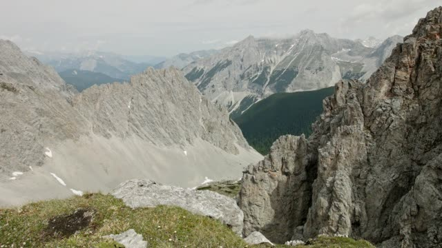 pan: nordkette and karwendel mountain range - innsbruck stock videos and b-roll footage