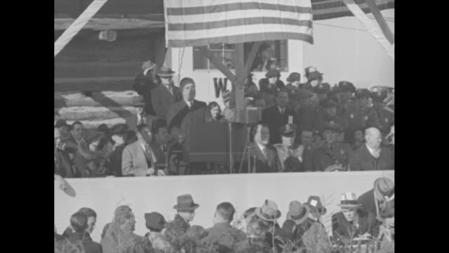 """pan of a vast crowd in harrodsburg, ky / sot pres. franklin roosevelt, """"we, pioneers of 1934, are come together today to honor the pioneers of a... - tennessee stock videos & royalty-free footage"""