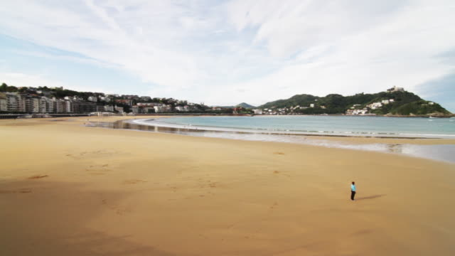 Pan of beach in Spain