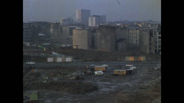 pan of bomb-damaged buildings in east berlin; 1969 - establishing shot stock videos & royalty-free footage