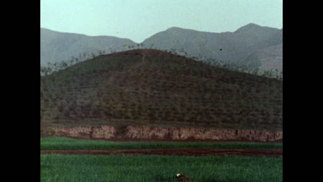 pan of emperor qin shi huang burial mound in rural china; 1973 - occurrence stock videos & royalty-free footage