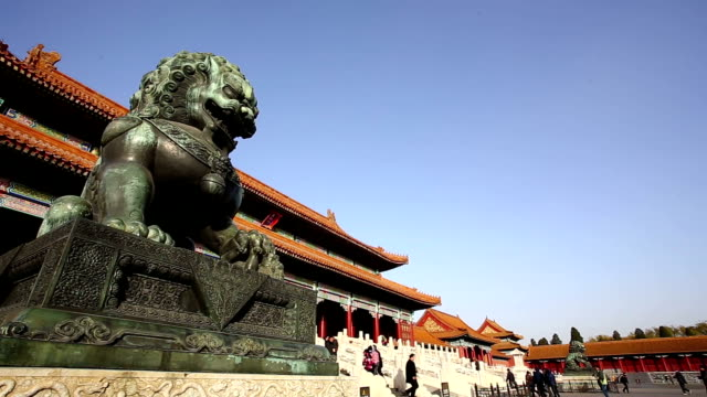 pan of great lion statues in the forbidden city in bejing, china. - imperial lion stock videos and b-roll footage