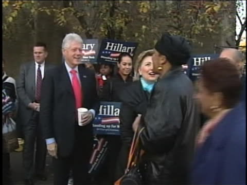 pan of hillary and bill clinton shaking hand with constituents while on the campaign trail for senate in new york in 2000 - united states and (politics or government) stock videos & royalty-free footage
