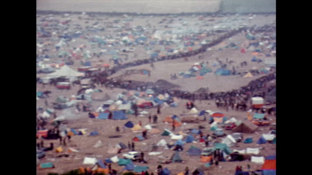 ha pan of isle of wight festival site; 1970 - tent stock videos & royalty-free footage