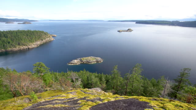 pan of lake above cortes island - tranquil scene stock videos & royalty-free footage
