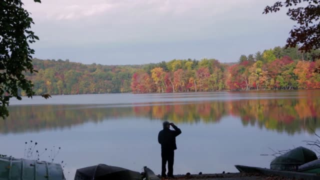 pan of male looking through binoculars at fall foliage in hudson valley - hudson valley stock videos and b-roll footage