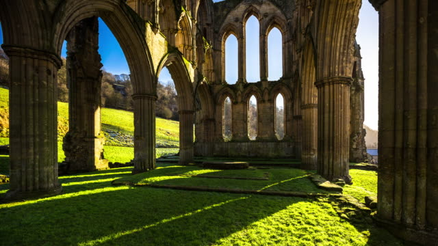 t/l pan of rievaulx abbey - yorkshire england stock videos & royalty-free footage
