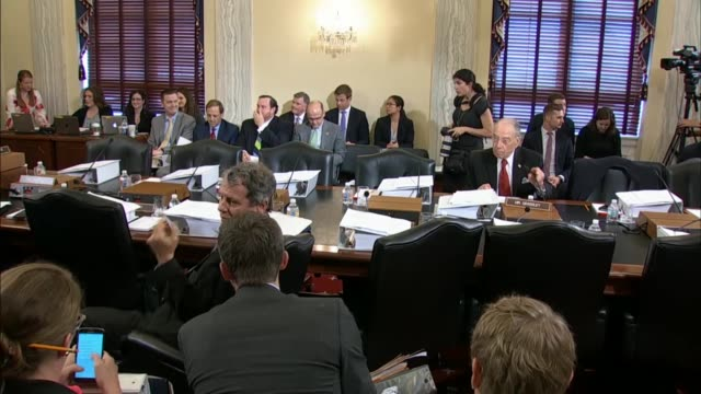Pan of Senate Agriculture Committee members prior to a full committee mark on the 2018 farm bill as staff and Senators await the opening gavel The...