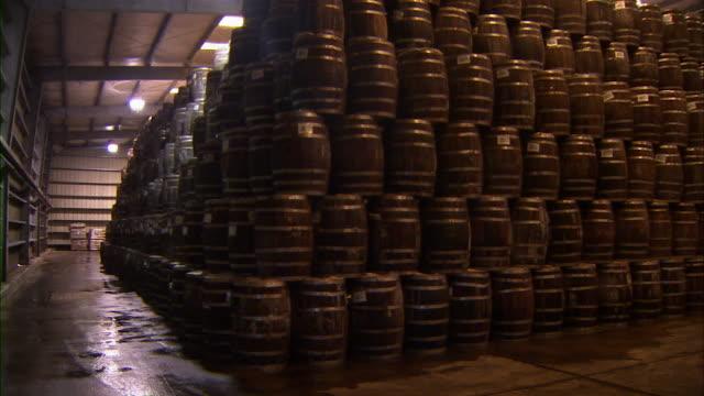 Pan of stacks of barrels of tabasco.