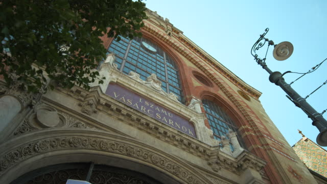 pan of the beautiful, decorative fa�ade of the great market hall building - budapest stock videos & royalty-free footage