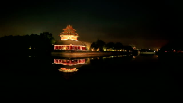 pan of the moat and the imperial palace in beijing, china. - palace stock videos & royalty-free footage