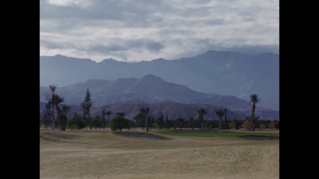A pan of the mountains in Palm Springs.