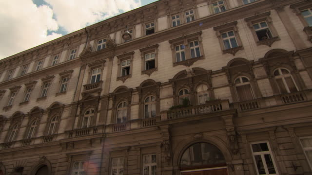 pan of the upper fa�ade of stately buildings in inner city budapest - hungary stock videos & royalty-free footage