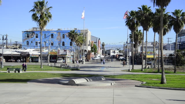 Pan of Venice Beach beachfront during a sunny day