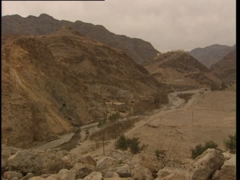 pan over a dry valley in khyber tribal agency - geographical locations stock videos & royalty-free footage