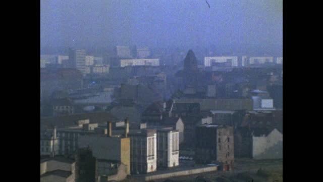 has pan over east berlin cityscape; 1969 - establishing shot stock videos & royalty-free footage
