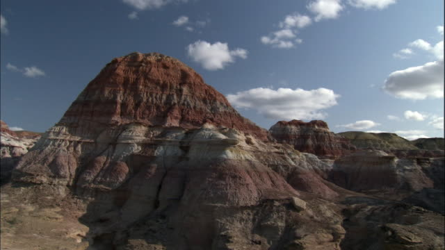 pan over five coloured mountains, kalamaili nature reserve, xinjiang, china - sandstone stock videos and b-roll footage