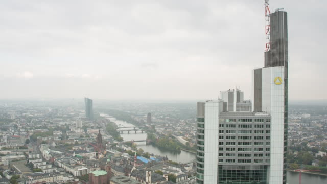 pan over frankfurt, view from main tower - main tower stock videos and b-roll footage