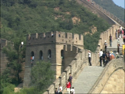 Pan over Great Wall of China, swarming with tourists, Badaling, China