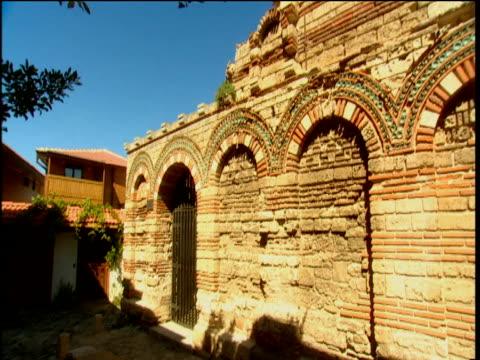 pan over intricate wall of church nesebar bulgaria - bulgaria stock videos & royalty-free footage