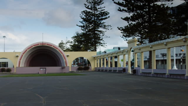 pan over napier soundshell - new zealand culture stock videos & royalty-free footage