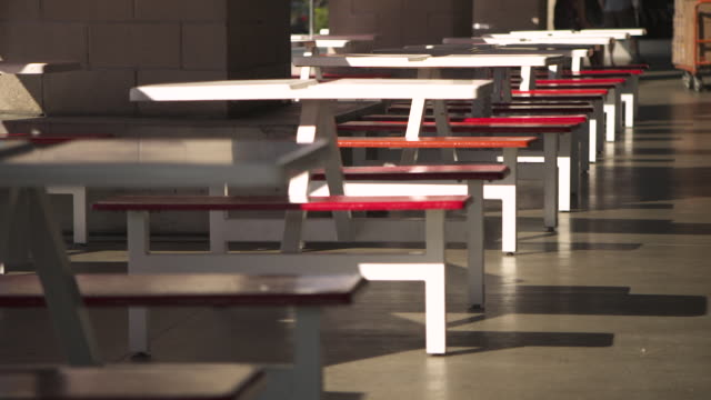 Pan over outdoor seating outside a Costco warehouse USA FKAX253N Clip taken from programme rushes ABLB597X
