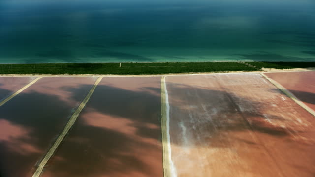 pan over pink salt lagoons in mexico - yucatan peninsula stock videos and b-roll footage