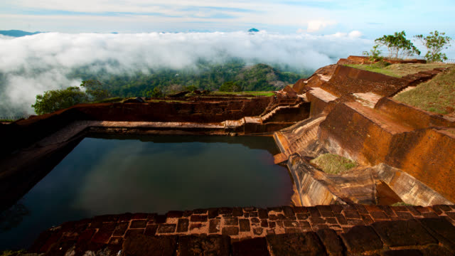 pan over pool at the top of sigiriya, sri lanka. - sri lankan culture stock videos & royalty-free footage
