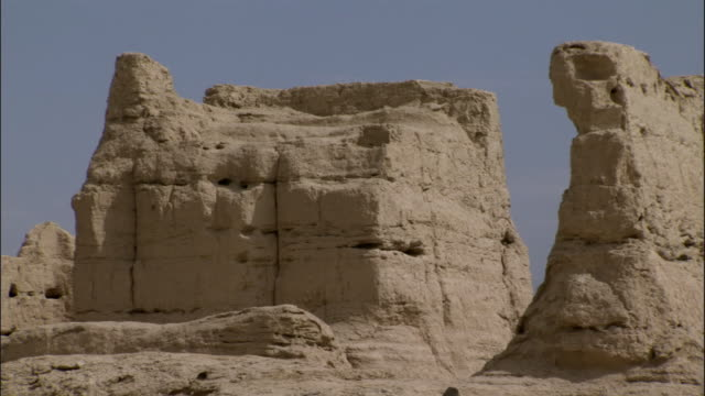 Pan over ruins of Jiaohe, Xinjiang province, China,