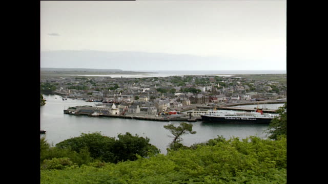 ha pan over stornoway harbour in the outer hebrides; 1993 - 1993 stock videos & royalty-free footage