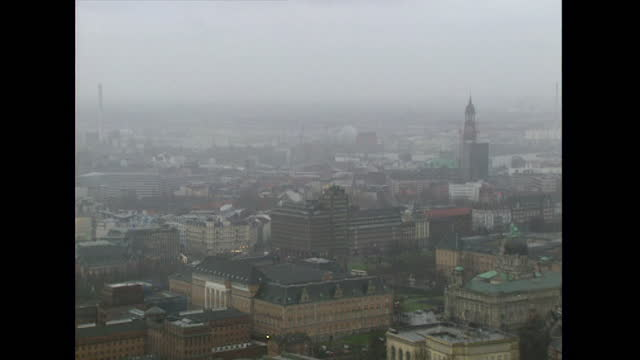 pan over urban cityscape in hamburg; 1998 - 1998 stock videos & royalty-free footage