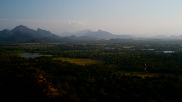 pan over valley of sigiriya, sri lanka. - sri lankan culture stock videos & royalty-free footage
