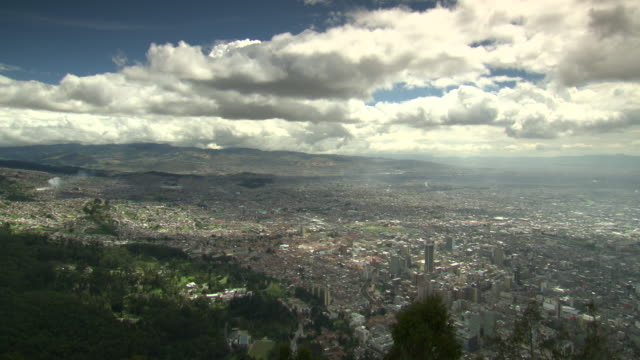 L-R pan overview of Bogotá, Colombia from a surrounding hilltop on a cloudy day