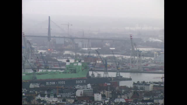 pan port of hamburg cranes and elbe river; 1998 - 1998 stock videos & royalty-free footage