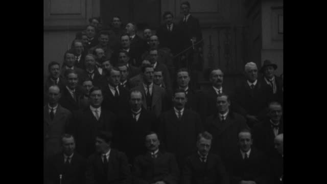pan provisional government of ireland photo op at mansion house in dublin first row left to right first completely visible man minister for home... - dublin republic of ireland stock videos & royalty-free footage