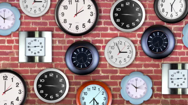 Pan right across a wall of clocks with time spinning.