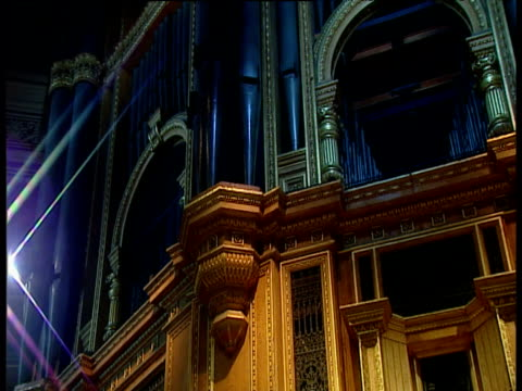 pan right across facade of royal albert hall organ - royal albert hall stock videos & royalty-free footage