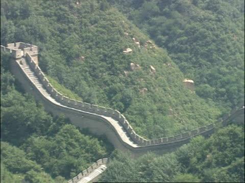 pan right, across great wall of china, badaling, china - badaling great wall stock videos & royalty-free footage
