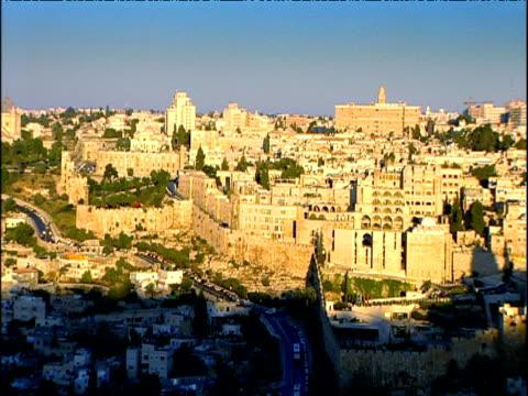 pan right across jerusalem - jerusalem stock videos and b-roll footage