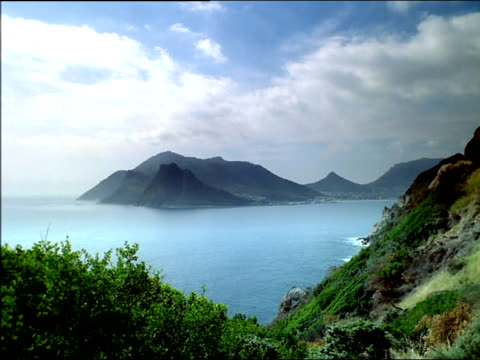 Pan right across Karbonkelberg peak overlooking Hout Bay, Table Mountain National Park, South Africa