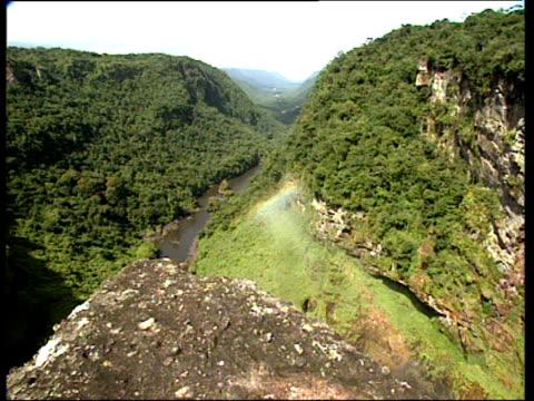 pan right across mountain valley to kaieteur falls guyana - guyana stock videos & royalty-free footage