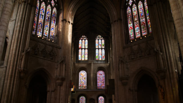 pan right across octagon tower in ely cathedral - octagon stock videos & royalty-free footage