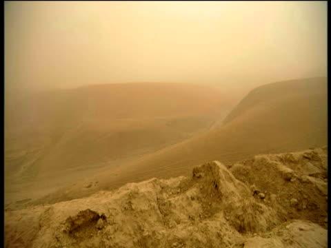 Pan right across rocky and arid desert Afghanistan