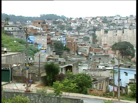 pan right across slum area on outskirts of city sao paolo - telegraf stock-videos und b-roll-filmmaterial