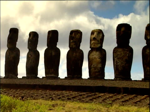 pan right along moai statues of easter island - polynesian culture stock videos & royalty-free footage