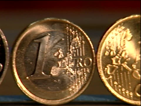 Pan right along range of Euro coins