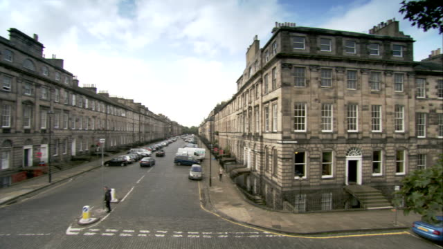 Pan right and left across Georgian tenements in the New Town area of Edinburgh. Available in HD.