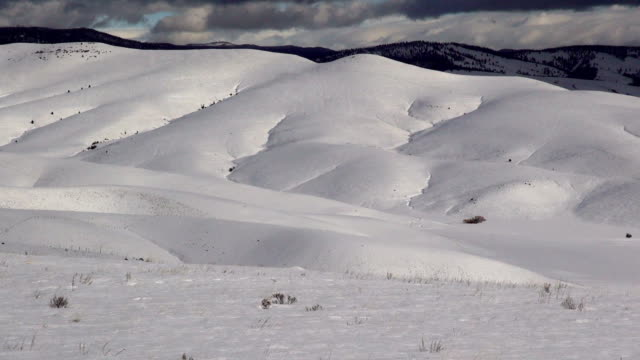 Pan right and left WS of dark clouds casting shadows on snow covered prairie landscape.