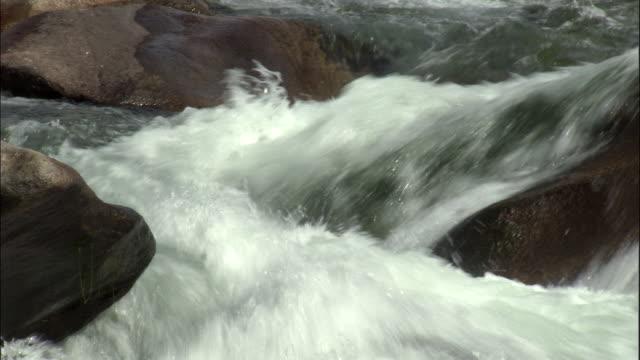 Pan right as river flows over rocks, Kalamaili Nature Reserve, Xinjiang, China